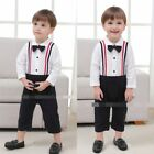 Baby Boy Wedding Christening Tuxedo Suspender Suits Outfits Clothes Romper Dress