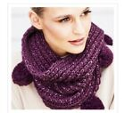 Avon Dottie Knitted Snood with Pom Pom Feature Available Purple or Mustard