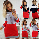 Uk Womens Casual Hoodies Long Sweater Dress Jumper Winter Pullover High Neck Top