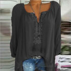 Plus Size Women Boho Long Sleeve Blouse Baggy Tops Ladies V Neck T Shirt Retro