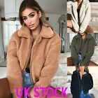 Womens Thick Warm Teddy Bear Pocket Fleece Jacket Coat Zip Up Outwear Overcoat