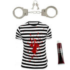 MENS STRIPED TOP, HANDCUFFS & BLOOD HALLOWEEN ZOMBIE CONVICT PRISONER COSTUME