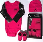 Nike Air Jordan Pink Infant Newborn 3 Piece Set Bodysuit Hat