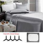 4 Piece Satin Silky Bed Sheet Set Full Queen King Deep Pocket Grey Free Straps image
