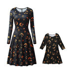 Family Parent-Child Set Mother Daughter Hallowmas Halloween Long Sleeve Dress US