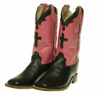 Old West Girl's Leather Cross Inlay Square Toe Cowboy Boots