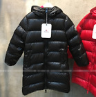 Unisex Kids Mid Long Thicken Warm Comfort Down Coat Chic Hooded Solid Formal