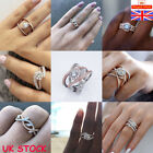 Crystal Rose Gold Plated Diamond Ring Women Wedding Engagement Rings Jewellery