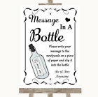 Wedding Sign Poster Print Black  White Message In A Bottle