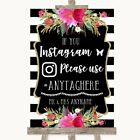 Wedding Sign Black & White Stripes Pink Instagram Social Media Hashtag