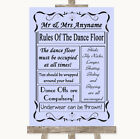 Wedding Sign Poster Print Lilac Rules Of The Dancefloor