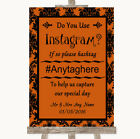 Wedding Sign Burnt Orange Damask Instagram Social Media Photo Sharing