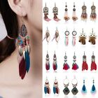 Boho Womens Feather Owl Leaf Tassel Earrings Long Dangle Wedding Bride Jewelry image