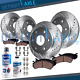 Front & Rear DRILLED Brake Rotors + Ceramic Pad for 2005-2017 Frontier 2WD 4-Cyl