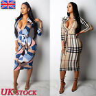 Uk Womens Long Sleeve Zip Up Print Bodycon Dress Ladies Strappy Party Long Dress
