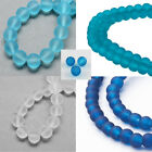 Transparent Glass Bead Strands Frosted Round Blue Turquoise Bracelet DIY Jewelry