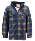 Men's Heavy Fleece Lined Sherpa Hoodie Plaid Flannel Jacket With Hood