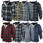 Mens Heavy Fleece Lined Sherpa Hoodie Plaid Flannel Jacket With Hood