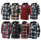 Внешний вид - Men's Heavy Fleece Lined Sherpa Hoodie Plaid Flannel Jacket With Hood