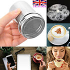 Steel Stainless Shaker Coffee Barista Cappuccino Stencils 16pcs Chocolate Duster