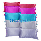 New 1 Pair Standard Silk Satin Pillow Case Pillowcases Solid Color Home Decor image