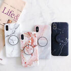 For iPhone 12 Pro Max mini 11 XS XR 7 8 Marble Stand Holder Soft TPU Case Cover