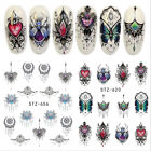 Nail Art Water Transfer Stickers Gothic Lace Necklace Butterfly Flower Decals