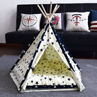 Pet Teepee Tent Dog Cat Toy House Bed Nest Soft Cushion Pad Portable Washable