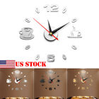 Coffee Cups Kitchen Wall Art Mirror Clock Modern Decoration Wall Sticker USA