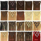 Remy Human Hair Clip in Hair Extensions 7Pieces SilkyStraight Full Head AnyColor