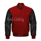 Varsity Letterman Bomber Maroon Wool and Black Genuine Leather Sleeves Jacket
