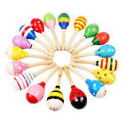 2Pcs Wooden Handle Rattle Shaker Sand Hammer Kids Baby Music Educational Toys US