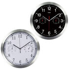Large Silent Wall Clock Thermometer Hygrometer Quiet Sweep Movement Round Metal