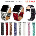 Bling Christmas Leather Band for Apple Watch Series 4 3 2 1 Glitter PU Strap US image