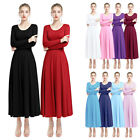 Women Girls Liturgical Costume Praise Dancewear Pleated Long Sleeve Dance Dress