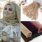 Fashion Women Gold Wire Pearl Scarf Lady Muslim Islamic Hijab Wrap Shawl Scarves