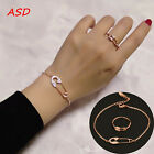Fashion Pin Tiny Crystal Rings Necklace Gold Silver Simple Design Jewelry Set