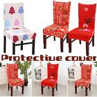 UK Christmas Chair Covers Seat Slipcovers Stretch Protector Xmas Banquet Dining