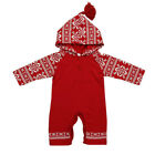 Newborn Baby Girls Boy Christmas Hooded Printing Romper Jumpsuit Outfits Red Hot