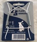 """JES Co England White Plastic Covered Wire Plate Hanger Diff Sizes 3.5"""" up to 16"""""""