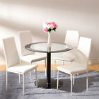 Round Designer Glass Dining Table And 4 Chairs Dining Room Set Black Space Saver
