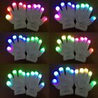LED Flashing Gloves Glow 7 Mode Light Up Finger Tip Lighting Pair Rave Party Kid