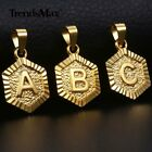 Initial Letter Pendant For Women Men Yellow Gold Plated Pendant Hexagon Jewelry