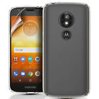 MOTOROLA MOTO E5 PLAY CLEAR SILICONE GEL PHONE CASE COVER & SCREEN PROTECTOR