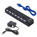 4/7 Ports USB 3.0 Hub Splitter Independent Switch + Power Adapter For PC Laptop