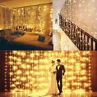 6m 600 Led Window Curtain Icicle String Fairy Lights Wedding Party Decor
