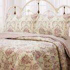 French Medallion Burgundy Red 100% Cotton Quilt Set, Bedspread, Coverlet image