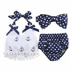Girls Clothes Toddler Infant Baby Tops Shirt Polka Dot Briefs Head Band Outfits