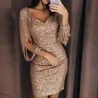Women Tassel Maxi Dress Slim Evening Cocktail Dress Bodycon Mini Dress Party US
