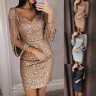 Women Maxi Dress Tassel Sequin Evening Cocktail Dress Bodycon Mini Dress Party